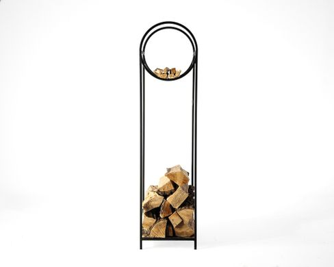 Log holder // Firewood Storage with a round kindling section // Bauhaus Narrow // by Atelier Article, Black