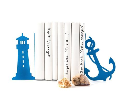 "Metal Bookends ""Lighthouse and anchor"" sea theme nursery by Atelier Article, Blue"