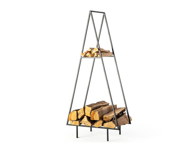 Log holder // Spruce // with a kindling shelf // by Atelier Article, Black
