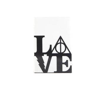 One metal bookend Harry Potter Love // Book holder for beloved classic tale, loved by all ages // FREE SHIPPING, Black
