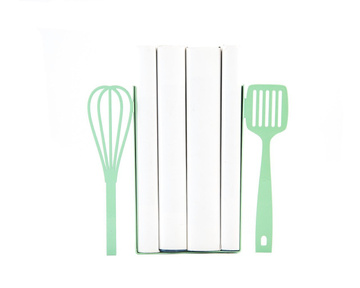 Metal Kitchen Bookends «Spatula and whisk»  Mint Edition by Atelier Article, Green