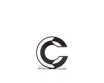 One metal bookend C -Letters are beautiful- alphabet series by Atelier Article, Black