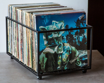LP storage album crate // container holds up to 100 records, Black