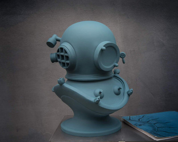 Diving helmet Berlin Blue edition // Steampunk bust // Sculpture by Atelier Article