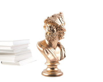 Mennelaus King of Sparta Ceramic Plaster Bust Statue Gold
