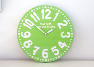 Wall clock // New York // pseudo vintage birch clock hand painted // by Atelier Article, Green