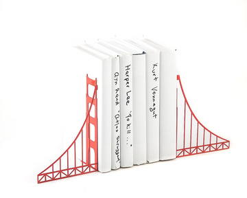 Metal Bookends / Golden Gate Bridge Functional shelf decor / by Atelier Article, Red