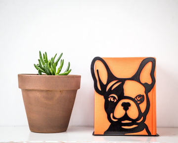 One Decorative bookend // French bulldog // Functional modern decor for dog lover by Atelier Article, Black