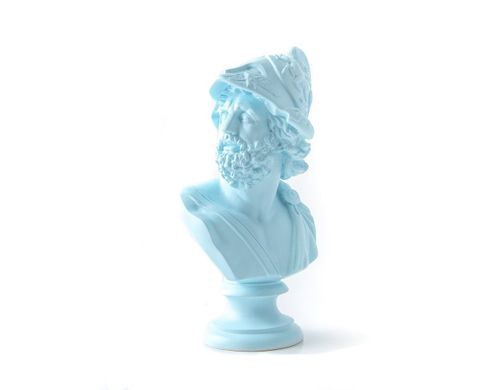 Mennelaus King of Sparta Ceramic Plaster Bust Statue Aquamarine by Atelier Article