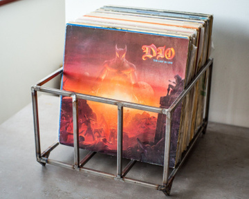 LP storage metal crate // container holds over 80 LP records