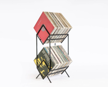 LP storage // Records stand // Double deck for vinyls // LP Album stand Black edition // Free shipping, Black