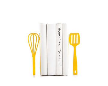 "Kitchen bookends ""Yellow Spatula and Whisk"" by Atelier Article, Yellow"