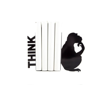 Metal Bookends «Think» modern home decor by Atelier Article, Black