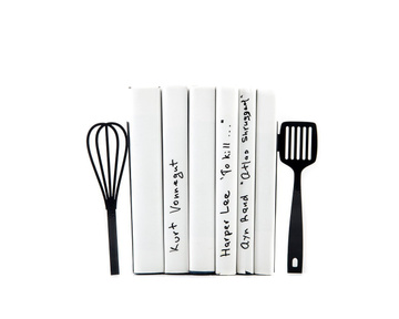 Metal Kitchen Bookends «Spatula and whisk» by Atelier Article, Black