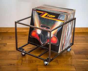 LP storage Album crate // on 4 rotating wheels // holds over 80 LPs by Atelier Article