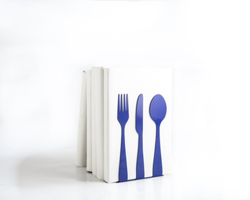 Metal Kitchen bookends / Silverware in blue / by Atelier Article, Navy