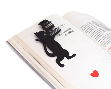 Metal bookmark Cat the Librarian by Atelier Article, Black