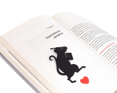 Black metal bookmark Mouse Stories, Black