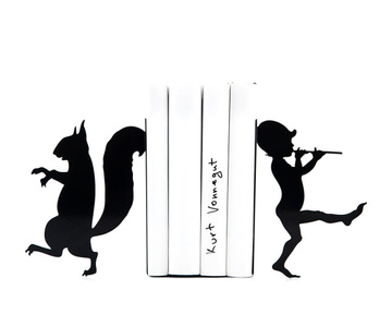 "Metal Bookends ""Elf and Squirrel"" functional shelf decor by Atelier Article, Black"