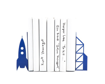 "Children's Bookends ""Flight to the Moon"" by Atelier Article, Navy"