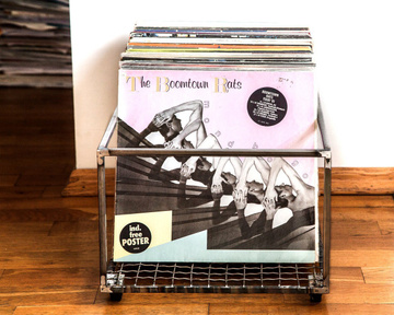 LP storage metal crate // holds up to 100 records