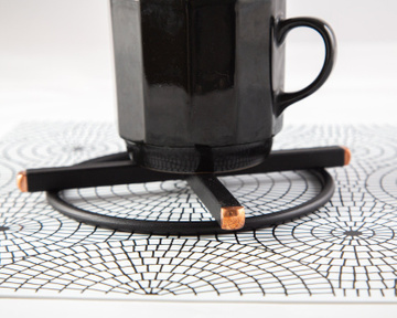 Metal trivet hand welded Black velvety with copper ends // pot stand // by Atelier Article, Black