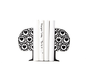 "Metal bookends ""Danish heart tree"" by Atelier Article, Black"