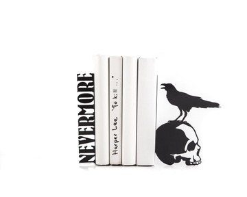 "Metal Bookends ""Nevermore. Raven on a skull EDGAR ALLAN POE"" by Atelier Article, Black"