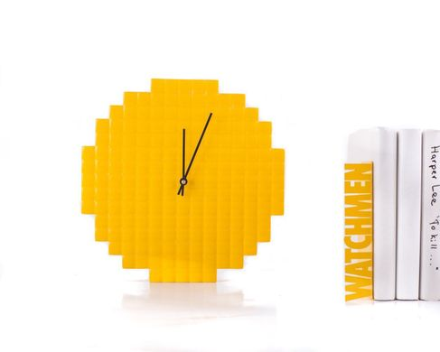 "Wall clock ""Yellow Pixel"" by Atelier Article , Yellow"