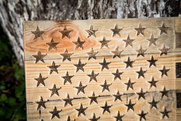 Wood Wall Art Large USA Carved American Flag Wall Hanging by Atelier Article