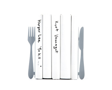 Metal Kitchen bookends «Knife and fork» in silver metallic by Atelier Article
