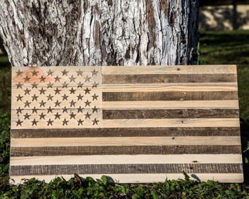 Wall Art // Large American Flag carved in wood // Wall Hanging // by Atelier Article, Beige