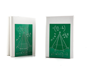 Unique design metal bookends «Mathematics» by Atelier Article, Green