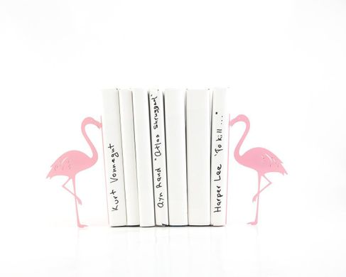 "Metal Bookends ""Flamingos""  by Atelier Article, Pink"