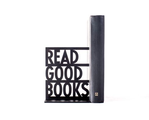 One metal bookend / Read Good Books / by Atelier Article, Black