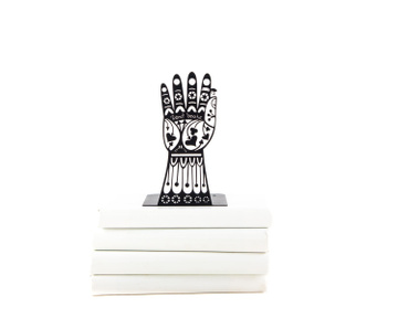 Metal bookend Hamsa // Decorative and Artistic functional decor for Shelf // by Atelier Article, Black