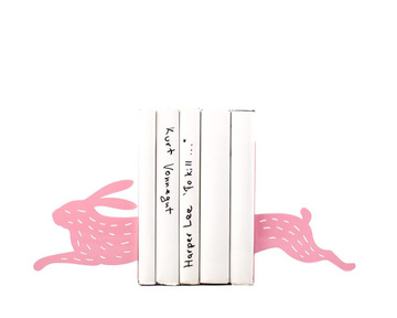 Metal bookends / Hare on the run with stripes / by Atelier Article, Pink