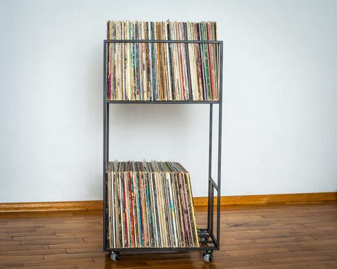 LP storage Double deck Album crate cart // Lower level shelf Easy access // compact storage for your LPs // free shipping**