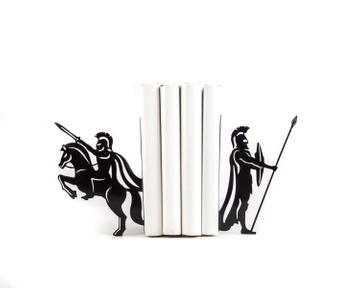 "Metal bookends ""Spartans "" Ancient history inspired bookends by Atelier Article, Black"