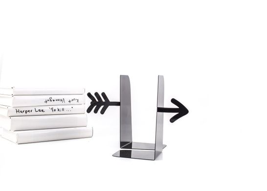 Unique design metal Bookends «Black arrow» by Atelier Article, Black