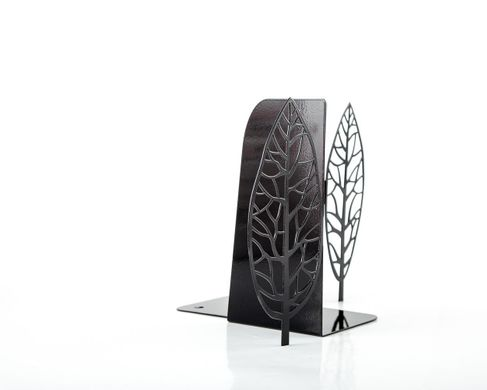 "Metal bookends ""Black leaves""  by Atelier Article, Black"