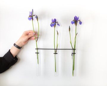 Minimalist metal wire Wall flower vase // Simple wire wall vase holder // Free shipping