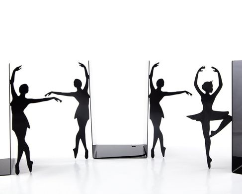 "Metal Bookends ""Ballerinas // Croisé "" Ballet inspired functional decor by Atelier Article, Black"