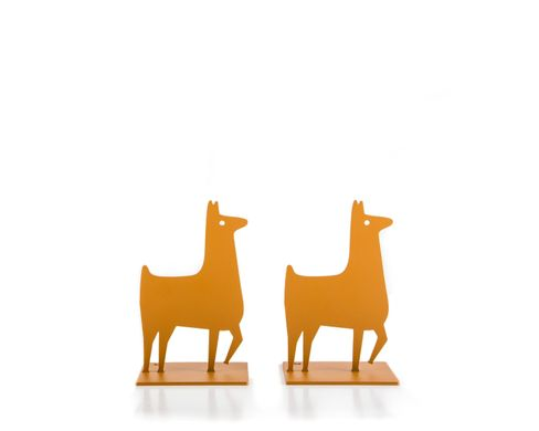 Metal Bookends «Lamas» by Atelier Article, Yellow