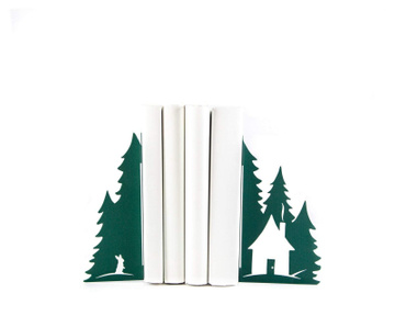 Metal bookends «A Hut in the woods» Green edition ин Atelier Article, Green