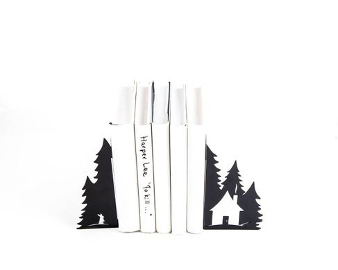 "Metal bookends ""A Hut in the woods"" Nursery perfect functional decor by Atelier Article, Black"