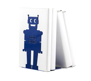 "One Metal Bookend for kids room ""Robot"" by Atelier Article, Navy"