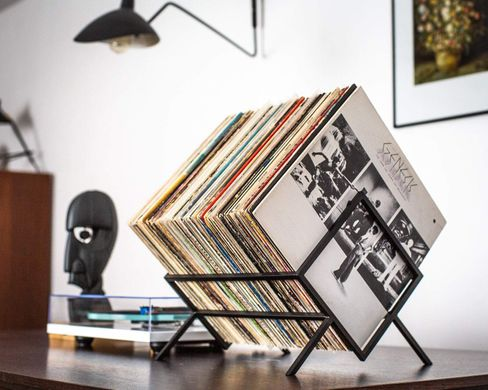 LP storage // Records stand // Display for vinyls // Listen now stack // LP Album stand Black edition // Free shipping, Black