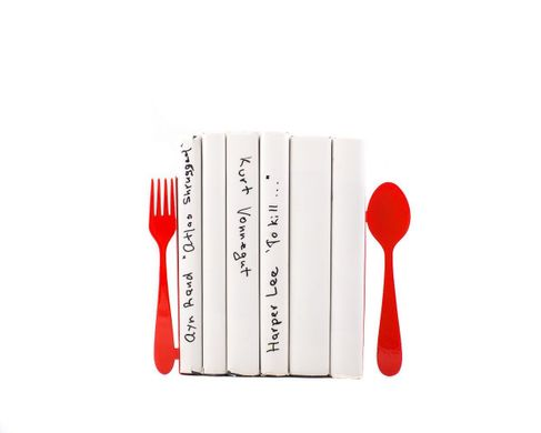 "Kitchen Bookends for Cookbooks ""Fork and Spoon"" by Atelier Article, Red"