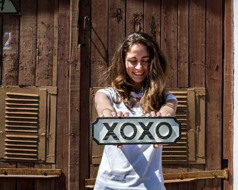 "Sign ""XOXO"" wooden retro style sign by Atelier Article, Assorted"